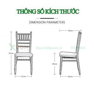 Kích thước ghế Tiffany, chiavari màu đen