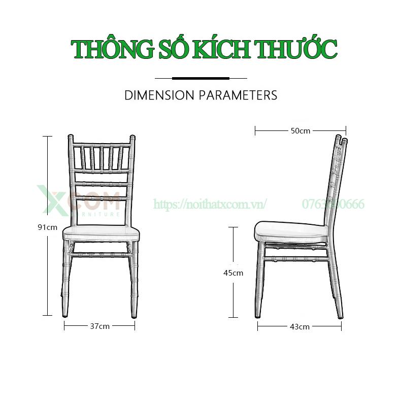 Kích thước ghế Tiffany, ghế Chiavari